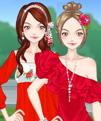 Pretty Girl in Red Dress Up Game