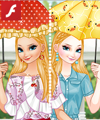 Elsa with Cute Umbrellas Dress Up Game