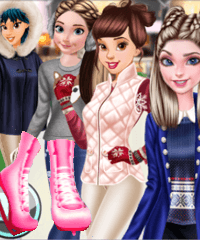 Princesses Go Ice Skating Dress Up Game