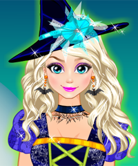 Elsa as Halloween Witch Dress Up Game