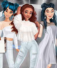 Princesses All White Night Party Dress Up Game