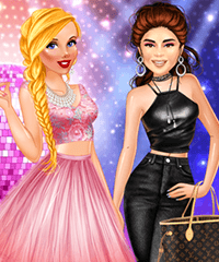 Stars and Royals BFFs Party Night Selena and Cinderella Dress Up Game