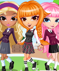 School Girl Group Dress Up Game