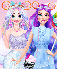 Barbie and Elsa in Candyland Dress Up Game