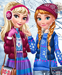 Elsa and Anna Winter Trends Dress Up Game