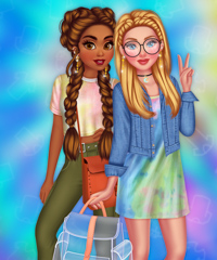 Princesses Tie Dye Fashion Dress Up Game