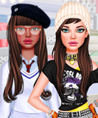 School Girl Classic vs Rebel Dress Up Game