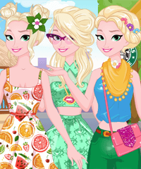 Elsa Summer Vacation Dress Up Game