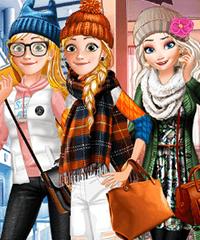Princesses Winter School Lookbook Dress Up Game