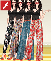 Printed Wide Pants Dress Up Game