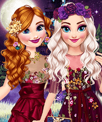 Elsa and Anna in Fairyland Dress Up Game