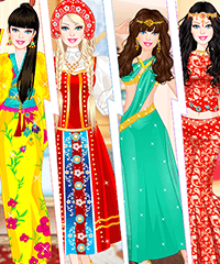 Barbie as Eastern Princess Japanese Russian Arabian And Indian Dress Up Game