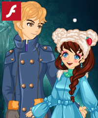 Snow Night Couple Dress Up Game