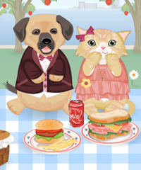 Cat and Dog Cute Picnic Decoration Game