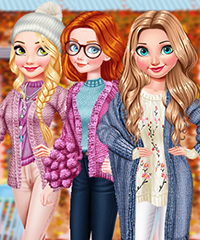 Princess Autumn Knits and Nails Dress Up Game