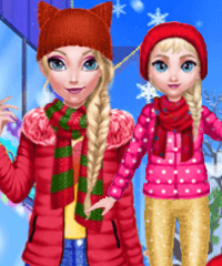 Mommy Elsa Daughter Winter Day Dress Up Game
