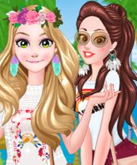Rapunzel and Belle California Summer Dress Up Game